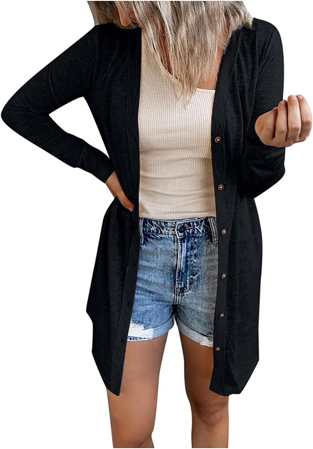 Cardigan for Women Plus Size, Women's Long Sleeve Knit Sweater Open Front Cardigan Button Loose Outerwear