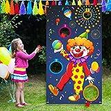 Carnival Toss Games Clown Banner con 3 Bean Bags Circus Bean Bag Toss Juego para Las Actividades de la Fiesta de Carnaval, Grandes Decoraciones de Carnaval, Proveedores de Circo para Niños y Adultos