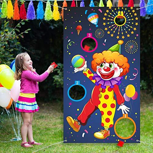 Outus Karneval Wurf Spiel Clown Banner mit 3 Bohnen Säcke Zirkus Bohnen Säcke Wurf Spiel für Karneval Party Aktivitäten, Große Karneval Dekorationen, Zirkus Lieferungen für Kinder und Erwachsene