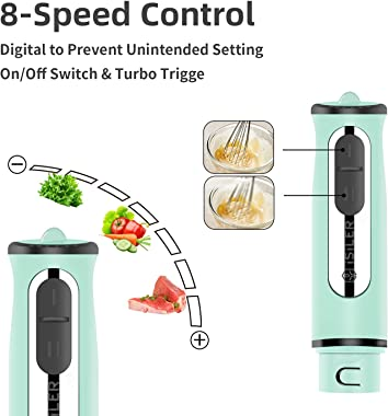 Immersion Hand Blender, ISILER 5-in-1 500-Watt Multi-Purpose Stick Blender with 860ml Food Chopper, 600ml Container, Milk Fro