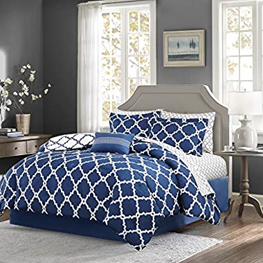 Madison Park Essentials Merritt King Size Bed Comforter Set Bed In A Bag - Navy, Geometric – 9 Pieces Bedding Sets – Ultra Soft Microfiber Bedroom Comforters