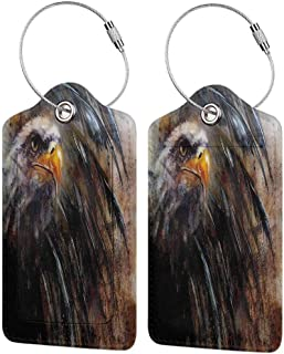 Leather Luggage Tag, Suitcase Tag Set, Labels Travel Accessories Eagle Angry Bird Black Feathers (1,2 & 4 Pack)