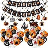 Evance 81 Piezas Decoración de Halloween, Pancartas Happy Halloween, Globos de Halloween, Guirnalda Halloween y Colgante Remolino para Fiestas de Halloween (81 Pack)