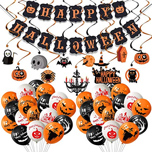 Evance 81pcs Kit Halloween Decoration, Bannière de Guirlande