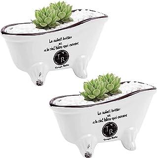 Originalidad French Country Style Bathtub Flower Pot, White Porcelain Vintage Flower Pot Planter, Bathtub Succulent Plante...