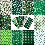 10 Stück St. Patrick's Day Stoffquadrate Kleeblattdruck