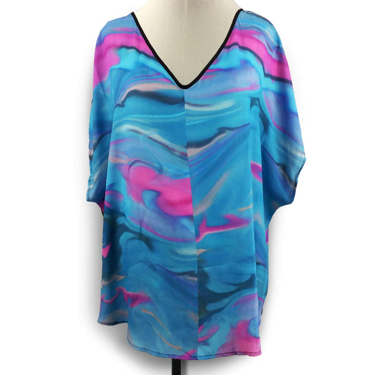 Blue Under blast sales Free Shipping New Ocean Waves Hi-Low Tunic V-Neck Plus 2X Size Blouse