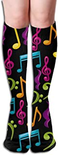 Unisex Knee High Long Socks Music Notes Video Over Calf Casual Sport Stocking Cotton