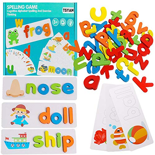 TSYAN See and Spell Alphabet Sight Words Flash Cards Kindergarten Matching Letter Puzzles Spelling Games Montessori Educational Preschool Learning Toys for Toddlers Kids 3+ Year Old