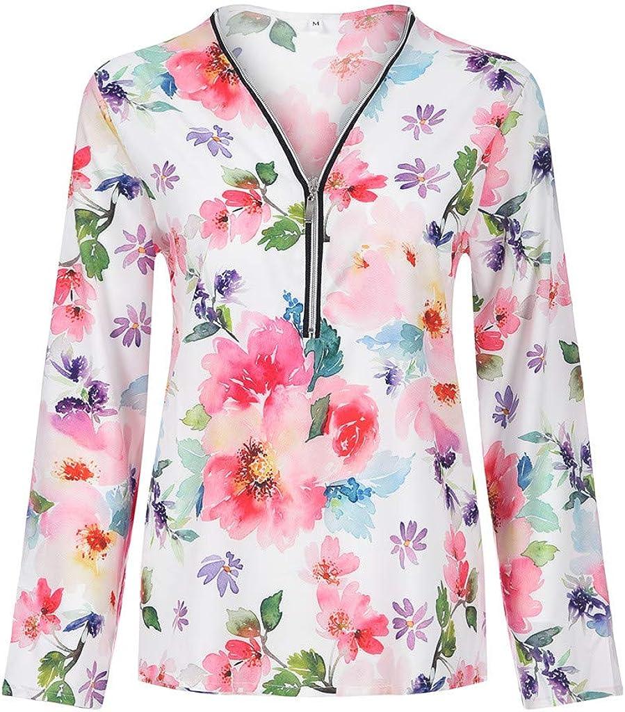 LEKODE Women Blouse Printed Zipper Fashion Shirt V-Neck Tops