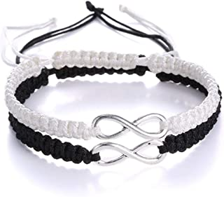 2Pcs Infinity Distance Couple Braided Handcrafted Luck Bracelet Bangle Adjustable Rope His and Hers Wristband Wrist Jewelry