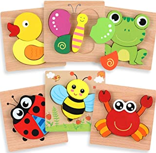 Wooden Puzzles for Toddlers - Best Educational Playset in Animal Pattern Shapes with Vibrant Colors, Set of 6 Brain Building Peg Puzzles for Boys and Girls Ages 1 2 3 with Drawstring Storage Bag