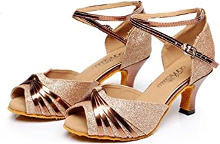 GIY Women's Sparkly Latin Salsa Tango Heel Dancing Shoes Ballroom Morden Wedding Party Adult Dance Sandals