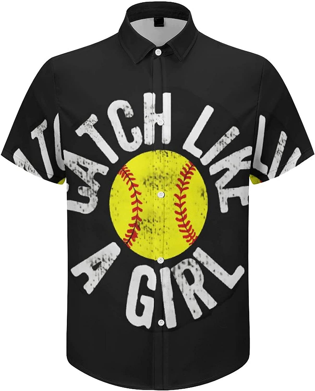 Mens Button Down Shirt Catch Like A Girl Baseball Casual Summer Beach Shirts Tops