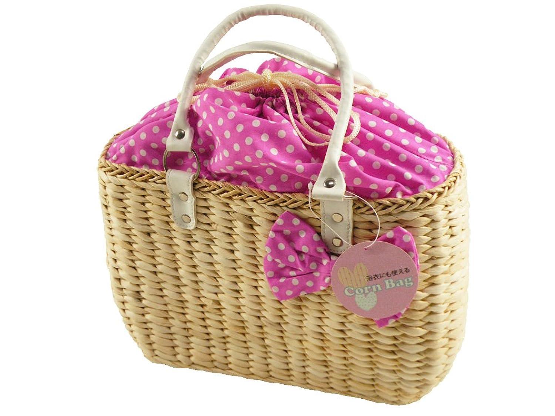 [さらさ]浴衣用 大きめ かごバッグ 天然素材 コーンバッグ kk-80 (ピンク)