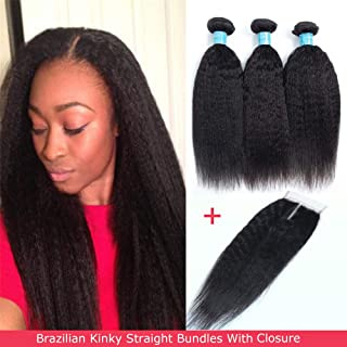 Brazilian Kinky Straight Human Hair Bundles With Closure, 8A Unprocessed Yaki Hair 3 Bundles With Closure, Middle Part, Natural Color(10 12 14+10)