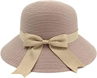 SHENTIANWEI Women's Knitted Sun Hat Hollow Chin With Sunscreen Beach Bowknot Summer Hat Travel UV Protection