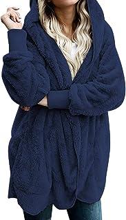 Zilcremo Mujer Lana Chaqueta Cárdigan con Capucha Frente Abierto Abrigo Fleece de Piel Sintética Invierno
