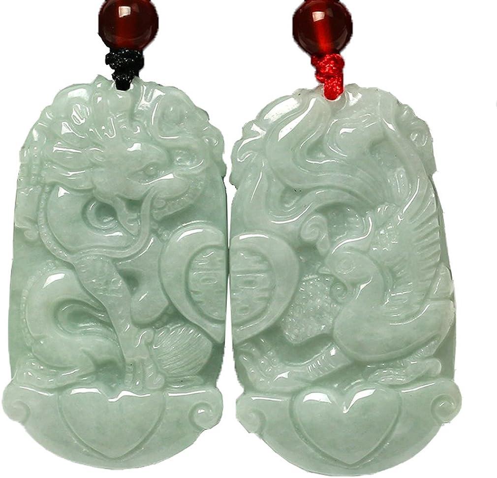 c1lint7785631 pure natural Jadeite Jade Dragon Phoenix Love Pair Amulet Pendant necklace