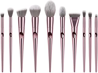 HomeMals Makeup Brush Sets 10PC Soft Synthetic Fiber Powder Blush Liquid Eyeliner Eyeshadow Lip Eyebrow Brush