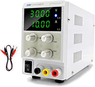 DC Power Supply Variable 30V 10A Switching Regulated 4-Digital Power Supply Single-Output 220V, with Free Alligator Leads,...