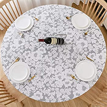 Lifesmells Vinyl Round Fitted Tablecloth with Flannel Backing,Oil&Waterproof,Vibrant Colors Elasticized Table Cover,Great for Indoor Outdoor Dining and Playing Cards,Floral White Pattern 45-56