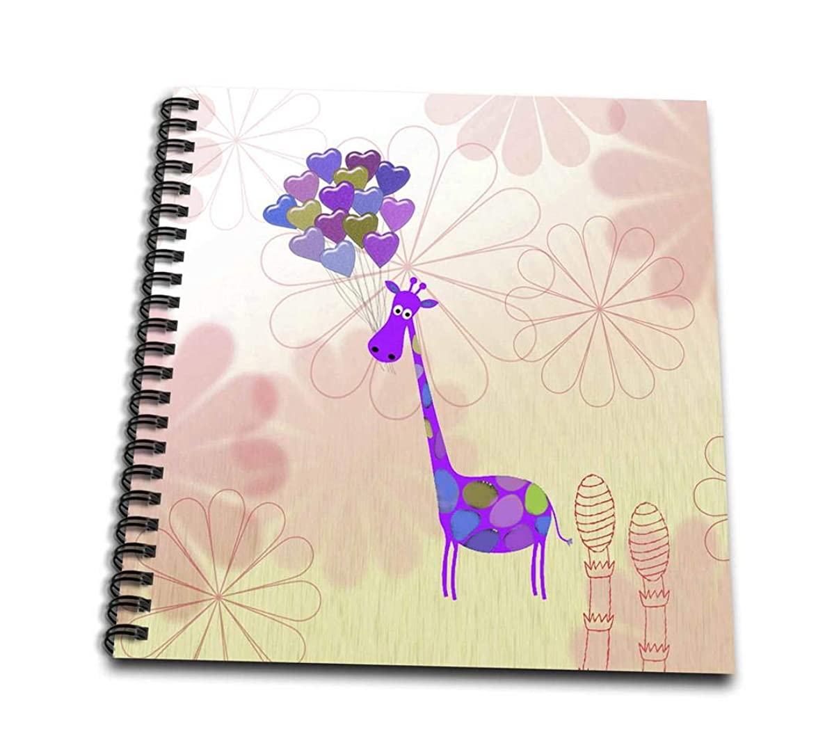 3dRose db_173123_1 Giraffe with Heart Balloons on Flowers, Pink, Yellow, Purple and Green-Drawing Book, 8 by 8-Inch