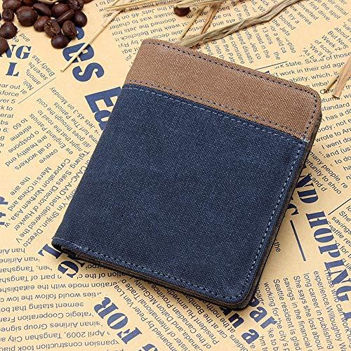 ZMING Canvas korte portemonnee, portemonnee voor heren, retro portemonnee/dressoir pakket (kleur: blauw, bruin, grijs)
