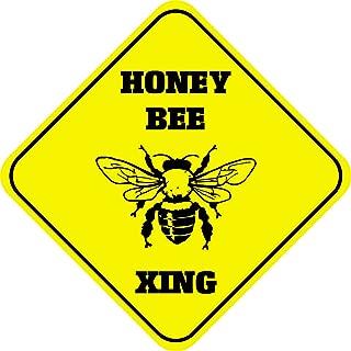Fastasticdeals Honey Bee Crossing Funny Metal Aluminum Novelty Sign