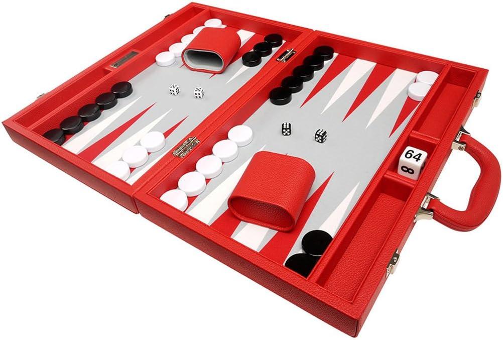 Memphis Mall 16-inch Premium Backgammon Game Set Board Size Medium Red - 5 popular