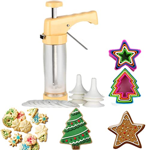 Cookie Press and Decorating Set Included 16 Discs &6 Icing Tips,Multi-size Cookie Cutter Set 10 PCS (Biscuit Bread Fondant Cutters) product image