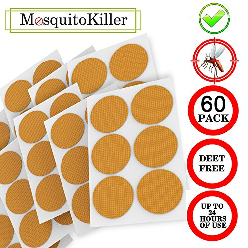 Greekones Company Apply to Skin and Clothes,Adult, Kid wit 60-Count Pack Mosquito Patch 3cm Resealable, 24-Hour Protection(Blue)