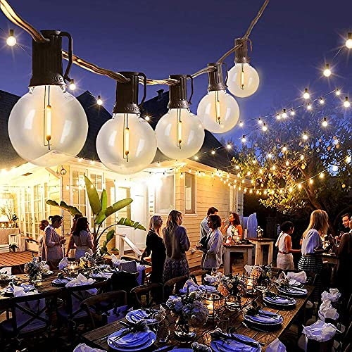Outdoor Garden String Lights Mains LED G40 30 Meters 50pcs Sockets Waterproof Festoon String Lights 52pcs Bulbs LED Patio Fairy String Lights for Wedding Backyard Garden Party Ambiance Creation