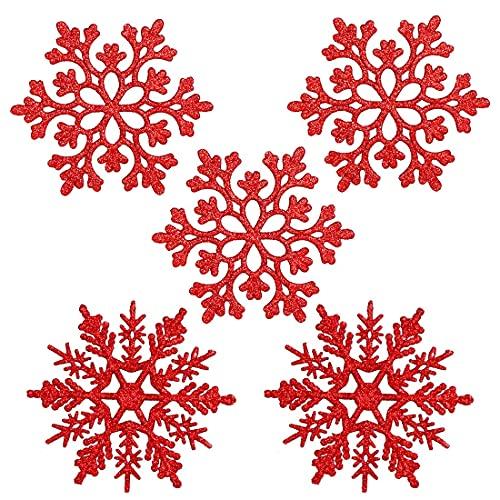 O-Kinee Copo de Nieve Decoración, 24 Confeti Copos de Nieve Brillantes, Copo Nieve Decoración Frozen, Copo Nieve Decoraciones para árboles de Navidad Boda Fiestas Adornos Festivo
