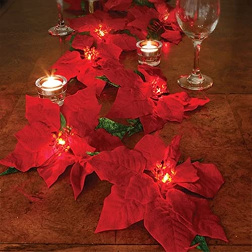 wholesale BW Brands wholesale Lighted Poinsettia high quality Garland outlet online sale