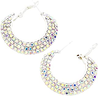 "Chunky, Wide Pave Style Iridescent Aurora Borealis Rhinestone Hoop Earrings 1 1/2"" Diameter 3/8"" Wide"