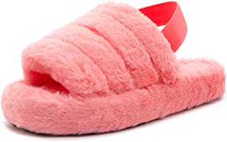 Women's Fuzzy Slide Slippers Soft Plush Wedge Sandals with Elastic Strap Open Toe Fluffy House Flats Cozy Slip On for Indoor Outdoor
