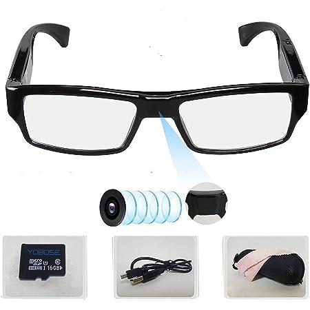 2019年スパイカメラメガネ無孔32GB内蔵-超小型カメラ メガネ-超小型 隠しカメラ-盗撮-時間の透かしが削除 (日本時間)