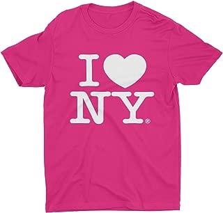 I Love NY New York Kids Short Sleeve Screen Print Heart T-Shirt Hot Pink