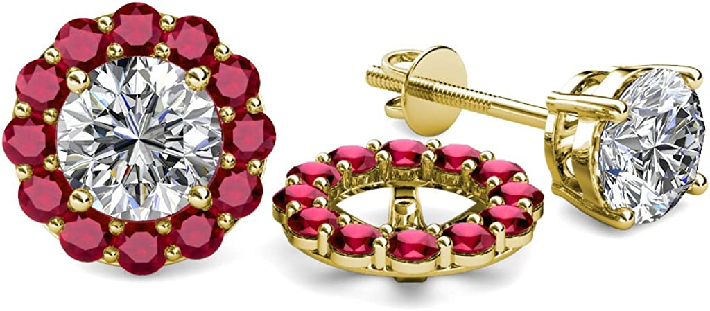 TriJewels Ruby Halo Jacket for Stud Earrings 0.76 ct tw in 14K Yellow Gold