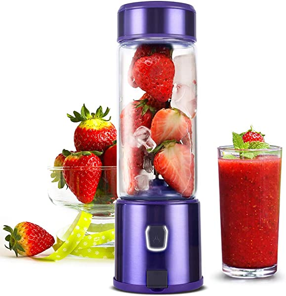 Portable Smoothie Blender H HUKOER S POW Personal Travel USB Rechargeable Blender For Shakes And Smoothies With 5200mAh Battery Single Serve Juicer Cup Fruit Mixer Purple