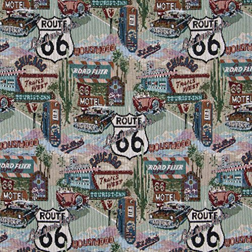 A011 Classic Route 66 Motels Diners and Gas Pumps Themed Tapestry Upholstery Fabric by The Yard