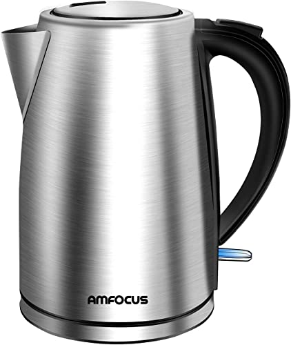 Electric Kettle, 1.7L BPA-Free Stainless Steel Water Kettle Tea Kettle with Cordless Auto Shut-Off & Boil-Dry Protection, 1500W Fast Boiling, FCC & FDA Approved