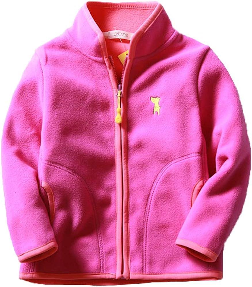 FOURSTEEDS Girls Puffy Fleece Coat Long Sleeve Zipper Up Pockets Winter Jacket Outwear Rose