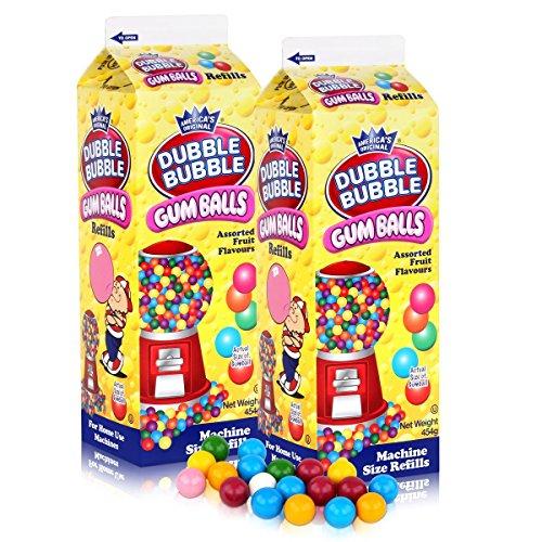Dubble Bubble Gum-Balls Nachfüll-Packung Kaugummis für Kaugummi-Automaten (2er Pack)