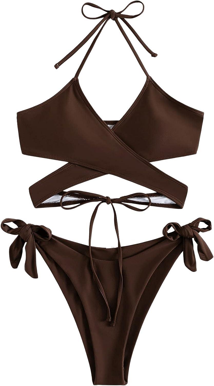 SOLY HUX Women's Halter Criss Cross Wrap Self Tie Bikini Bathing Suit 2 Piece Swimsuits