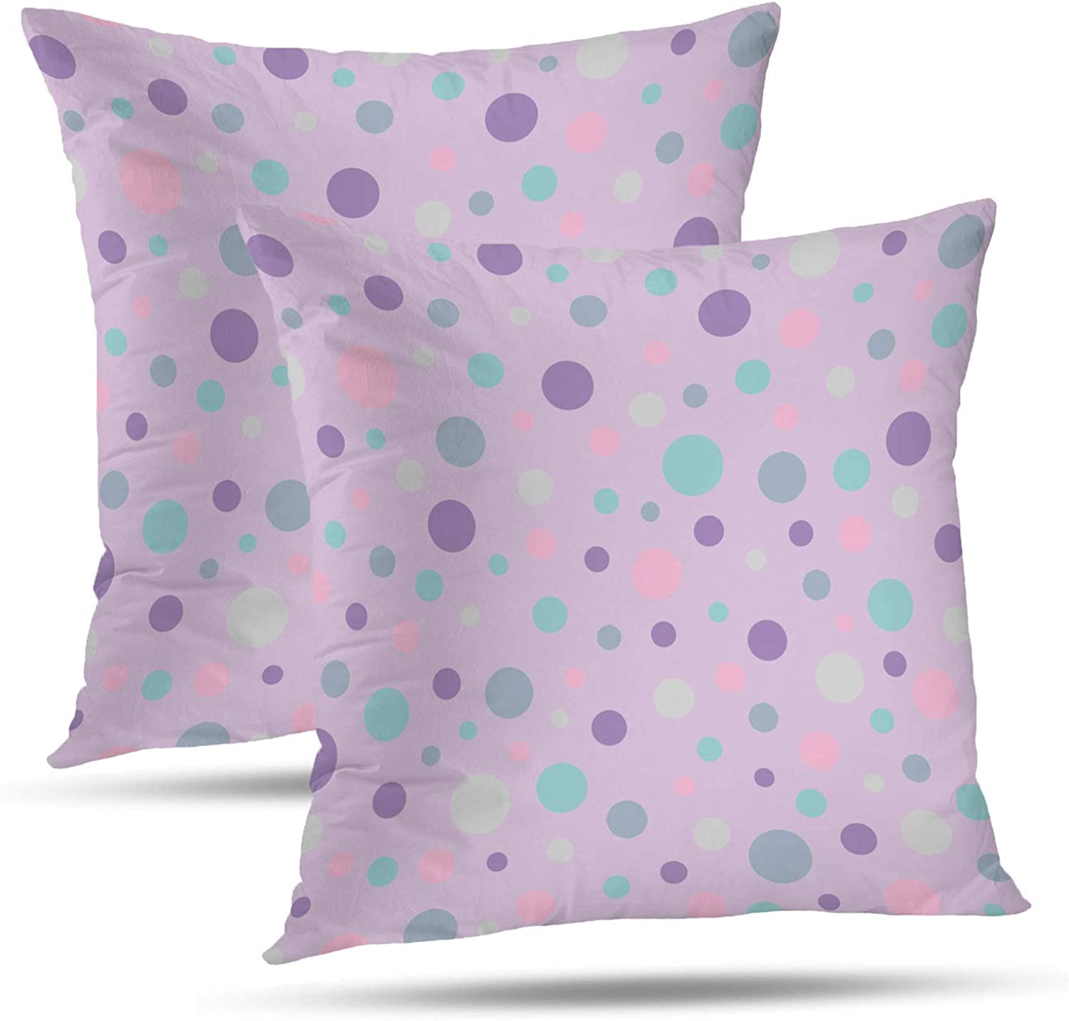 PENGTU Pillows Premium Throw Pillow Covers 18x18 Inch Set of 2, Bright Fun colorful Polka Dot Spot Pattern Double Sided Square Pillow Cases Pillowcase Sofa Cushion