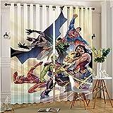 Moderno hogar sala decoración de la Liga de la Justicia Art Poster Pocket cortina paneles para dormitorio y sala de estar 72 x 96 pulgadas