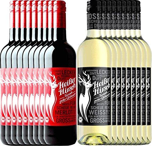 18er Mixpaket - Bio-Glühwein rot & weiß - Heißer Hirsch | veganer Glühwein | Glühwein aus Deutschland in Bio-Qualität | 18 x 0,75 Liter