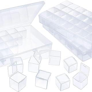 Blulu 3 Pack Large Separate 28 Grids Storage Box DIY Diamond Painting Accessories Beads Organizer Clear Plastic Diamond Em...